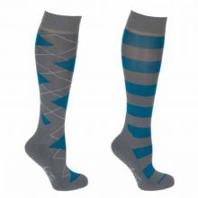 MARK TODD LONG ARGYLE/STRIPE SOCKS - PETROL/ANTHRACITE- RRP £12.99